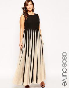 Image 1 ofASOS CURVE Maxi Dress in Stripe Mesh