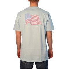 Southern Point Waving American Flag T-Shirt in Blue