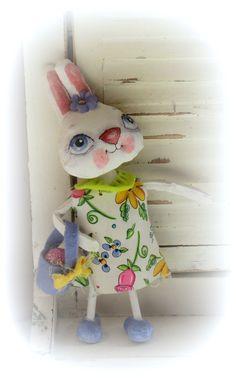 mama bunny and babies - spring peg dolls | Hand made Easter bunny Mama by suziehayward on Etsy