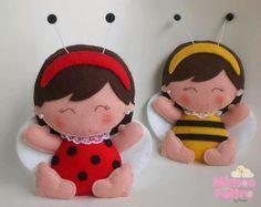 ARTESANATO COM QUIANE - Paps,Moldes,E.V.A,Feltro,Costuras,Fofuchas 3D: molde boneca joaninha e abelhinha