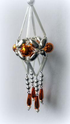 Vánoční+ozdoba+z+foukaných+perel+Lustřík+oranžový