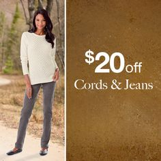 """Lots of tall treats this week including $20 Off ALL tall cords & jeans. How tall? They go up to 39"""" inseams, that`s how tall! #Legs4Days #TallStyle #Jeans #Cords"""