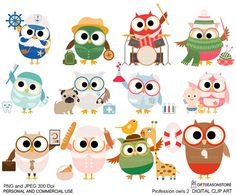 Profession owl part 2 clip art for Personal and by Giftseasonstore