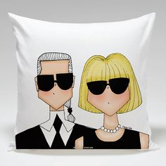 Anna Wintour and Karl Lagerfeld throw pillow by TheDoodleStoreDR