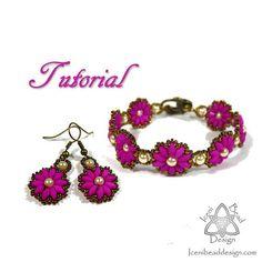 Calendula flower bracelet and earrings set