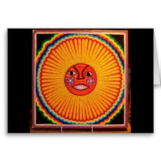 Huichol String Art Sun Mexican Folk Art Cards