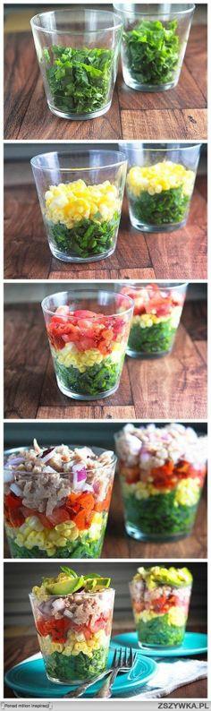 rainbow salad: spinach, corn, tomatoes, tuna, red onion, avocado, boiled egg, sauce (olive oil, lemon juice, a little sugar, granulated garl ...