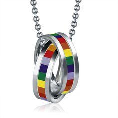 Gay Pride Couple Ring Necklace