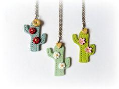 Cactus collar porcelana verde menta musgo joyeria por GBILOBA