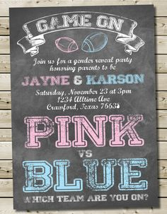 Custom Printable Football Chalkboard Theme Baby Gender Reveal Invitation 5x7 or 4x6 Football Gender Reveal Invitation
