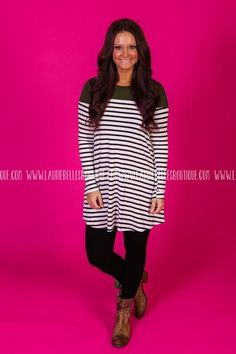 Oversized striped dress with colorblock top. If between sizes, you could size…