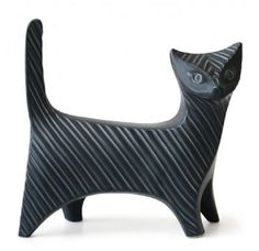 "Jonathan Adler Prowling Kitty Cat Midnight Blue Stoneware Size:	12"" long x 4"" wide x 11.5"" high"