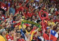 Austrailia fan supporting Socceroos in first match of Group B versus Chilie at World Cup.