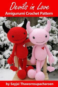 Devils in Love Amigurumi Crochet Pattern (Big Huggy Dolls Book 5) Halloween Crochet