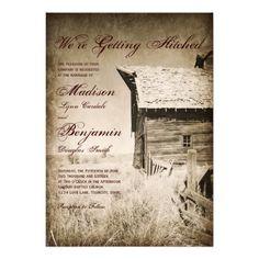 Rustic Old Barn Country Wedding Invitations #wedding