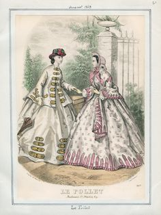 Casey Fashion Plates Detail   Los Angeles Public Library: Le Follet Date:  Saturday, August 1, 1863 Item ID:  v. 43, plate 60