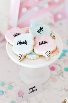 Custom Cotton Candy Cookies by Lemon Bliss Bakey - The TomKat Studio | Kate's Cotton Candy Party!