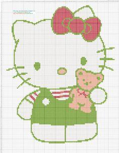 Dibujos Punto de Cruz Gratis: Hello Kitty con osito - Punto de cruz