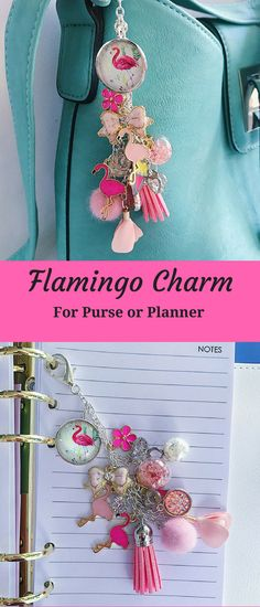 Fun handmade flamingo purse or planner charm, It also makes a lovely decorative accessory around the home or office - hang it from your window or a mirror and watch it catch the light. #ad #etsyseller #flamingo #charm #pursecharm #plannercharm