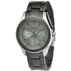 Fossil Stella Multi-Function Green Aluminium Ladies Watch ($108) ❤ liked on Polyvore featuring jewelry, watches, bracelet watches, stainless steel watches, clasp bracelet, analog wrist watch and stainless steel jewelry