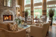 Красивый дизайн интерьера загородного дома: 30 идей гостиной комнаты