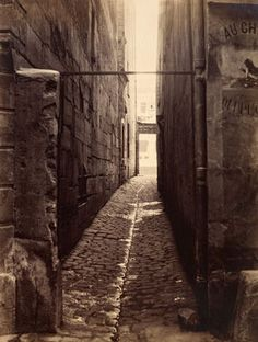 Charles Marville (French, 1816–1879) Rue du Chat-qui-Pêche (from the Rue de la Huchette), ca. 1868.