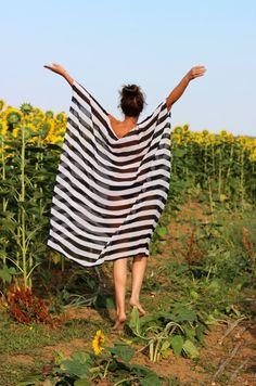 Plus size oversized Maxi Black and white stripes chiffon cover up dress/maxi dress/plus size dress/party dress/summer dress/beach dress