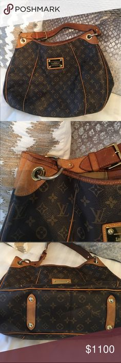 Authentic Louis Vuitton Galleria Shoulder Bag Authentic Louis Vuitton shoulder bag.  Used bag with visible wear but still an amazing classic!  Large enough for travel as well as everyday.  2 pockets in interior. 4 years old - I love this bag!  Once sold I will have it professionally cleaned ($75 value) before shipping to you :) Louis Vuitton Bags Shoulder Bags