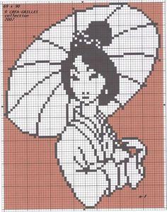 asian girl cross stitch pattern