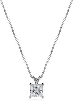PlatinumPlated Sterling Sterling Silver Swarovski Zirconia PrincessCut Solitaire Pendant Necklace 18 *** Read more reviews of the product by visiting the link on the image.