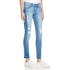Flying Monkey Distressed Skinny Jeans in Medium Wash ($68) ❤ liked on Polyvore featuring jeans, medium wash, blue skinny jeans, torn skinny jeans, destructed skinny jeans, distressing jeans and destroyed jeans