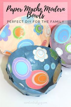 Paper mache modern bowls. Learn how to make these lovely modern paper mache bowls. This is a fun craft project to make with kids and adults will love to make these paper mache modern bowls as well. #diypapermachbowls #diymodernbowls #diycraftprojectideas #DIYpapermacheprojectideas #papermachecraftsforkids #papermachecraftsforadults