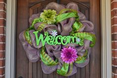 Spring Deco Mesh Wreath by HangingwithJanet on Etsy, $78.00