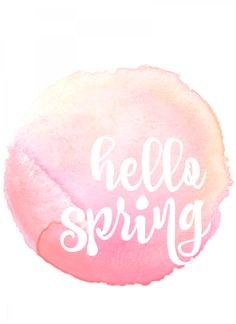 hello spring free printable in pink and yellow