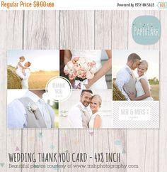 50 % Rabatt auf Hochzeit Vielen Dank Card 4 x von PaperLarkDesigns