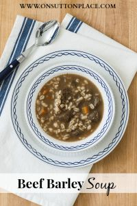 Beef Barley Soup - On Sutton Place Excellent!  Did not have quick cooking barley so used regular cooked 15-20 minutes before adding veggies.