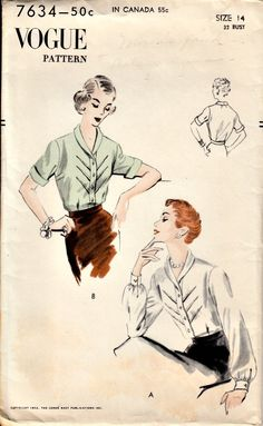 1950's Shawl Collar Blouse with Diagonal Tucking- VOGUE 7634 - MINT, UNCUT Vintage Sewing Pattern - Bust 32