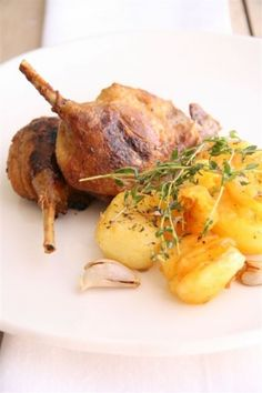 Confit Of Duck With Thumb Print Potatoes Barley Salad, Duck Soup, Duck Confit, Peking Duck, Roast Duck, Thumb Prints, South African Recipes, Gumbo, Potato Recipes
