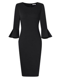 GlorySunshine Women 3 4 Flare Bell Sleeves Work Bodycon Pencil Dress  Vintage Cocktail Party Dresses 736d93e581fd