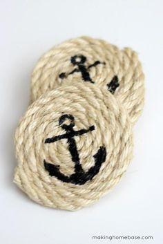 DIY Halloween : DIY Sisal Rope Coasters - Easy Nautical
