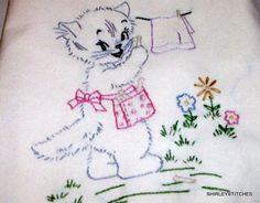 Vintage hand embroidered kitten tea towel. $15.00, via Etsy. But I need the pattern! Aunt Marthas?