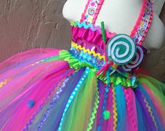 Candyland inspired tutu dress and matching hairpiece  Candy