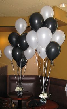 mjdecorations > Black and White Wedding Shower- Black and White Balloons are arranged in an ivy bowl with black and white gems and silk roses. Vito's by the Park in Hartford