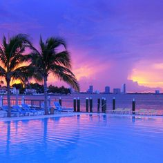 Purple sunset at The Standard Spa, Miami Beach. Photo by Ben Stilleto. South Beach Miami, Miami Pool, Miami Sunset, South Florida, Wonderful Places, Beautiful Places, Places To Travel, Places To Go, Costa