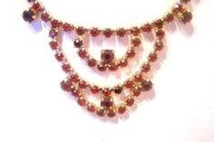 Vintage Red Rhinestone Necklace N3773 by JewelsAndMyGirls3 on Etsy, $40.00