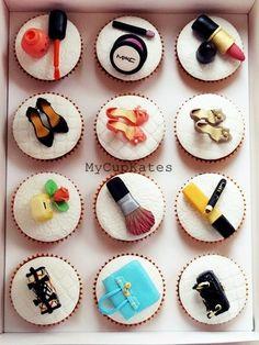 Makeup Cupcakes - by MyCupKates @ CakesDecor.com - cake decorating website #cupcakes #cupcakeideas #cupcakerecipes #food #yummy #sweet #delicious #cupcake