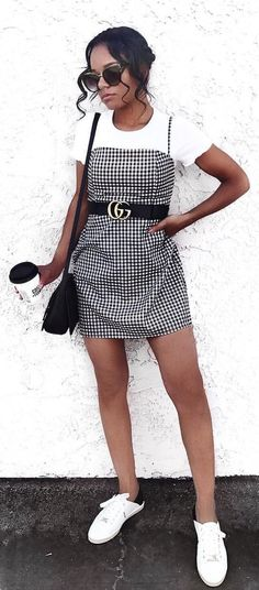 #fall #outfits women's gray, white, and black Gucci dress