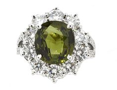 Ring (26) Round Diamonds 2.36ct.tw Center Natural Alexandrite 4.13ct (GIA…