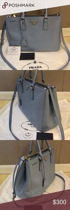 Prada Saffiano Galleria Double ZIP Tote If you are interested in buying this item, contact me via telephone 201-310-9371. Also, keep in mind that we take payments through a optional third party application. Prada Bags Totes