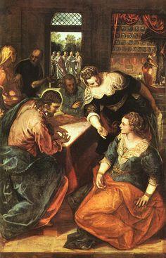 Tintoretto: Jesus im Haus von Martha (hinten) und Maria (vorn), 1570 - 75, Alte Pinakothek in München